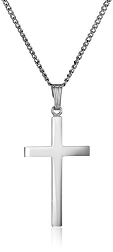 Sterling Silver Polished Cross Pendant Necklace, 16'