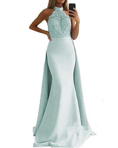Promworld Damen Hater Hals Spitze Perlen Meerjungfrau Abend Party Kleid Langes Ballkleid mit Abnehmbarer Schleppe Gr. 32, aqua