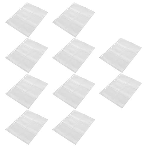 EXCEART 10Pcs Supporto di Collezione di Monete Album Libro 6 Tasche Penny Raccolta Libro Valuta Pagina Moneta del Sacchetto di Immagazzinaggio Organizzatore per Il Timbro Medaglie Collane