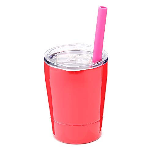 Colorful PoPo Kids Stainless Steel Cup Lovely Small Rambler Tumbler, Double Wall Vacuum Insulated Water Bottle with Lid and Silicone Straw, 8.5 OZ (1, Red)