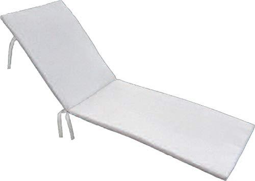 PEGANE Coussin pour Bain de Soleil déhoussable Coloris Blanc - Dim : 190 x 60 x 5cm