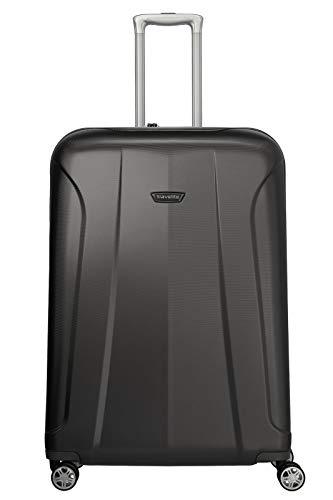 travelite 4-Rad Koffer Größe L mit TSA Schloss, Gepäck Serie ELBE: Widerstandsfähiger Hartschalen Trolley, 075549-04, 77 cm, 106 Liter, anthrazit (grau)