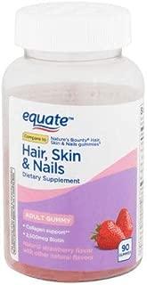 Equate Hair Skin & Nails Adult Gummy, Strawberry, 90 Gummies