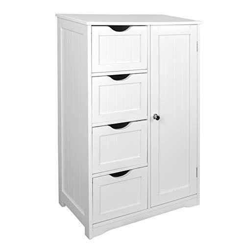 EUGAD 0026WY Meuble sur Pied Armoire pour Salle de Bain avec 4 tiroirs Commode de Rangement Polyvalente 56x30x81cm Blanc