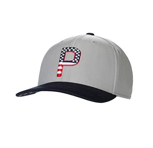 PUMA Golf 2020 Men's P Pars & Stripes Adjustable Hat (Men's, Bright White-Quarry, One Size) (22967)
