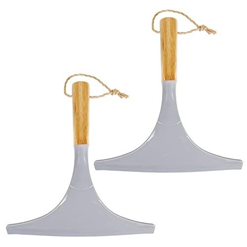 mDesign Juego de 2 limpiadores de cristales para baño – Práctico accesorio para limpiar mamparas de ducha o ventanas – Limpiavidrios de bambú con cordel para colgar – gris/natural