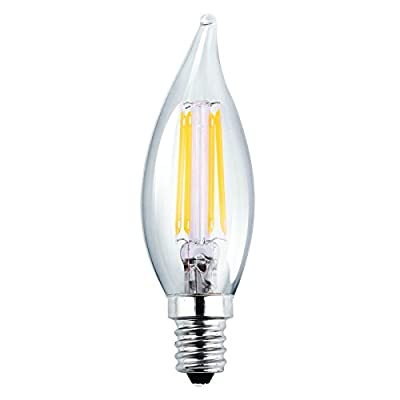 Luxrite LR21250 (2-Pack) 4W LED Filament Candelabra Bulb, 40W Equivalent LED Candle Bulb, Warm White 2700K, 350 Lumens, 270° Beam Spread, E12 Base