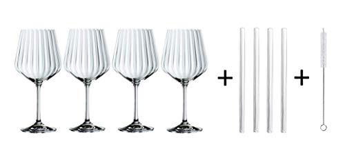 Spiegelau & Nachtmann, 9-teiliges Gin & Tonic-Set, 4x Gin Tonic-Gläser (637 ml), 4x Glastrinkhalme, 1x Reinigungsbürste, Tastes Good, 103143