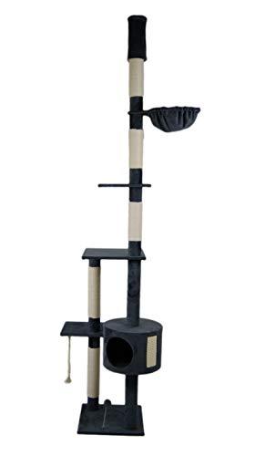 animal-design Katzen-Kratzbaum deckenhoch XXL beige oder braun - Lucy - mit Liegemulde, Wohnhöhle, Spielseil und Spielmaus (grau)