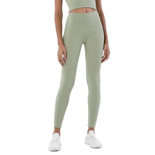 QTJY Pantalones de Yoga para Mujeres Desnudas Suaves, Cintura Alta, Levantamiento de Cadera, Pantalones elásticos de Secado rápido, para Correr al Aire Libre, KM