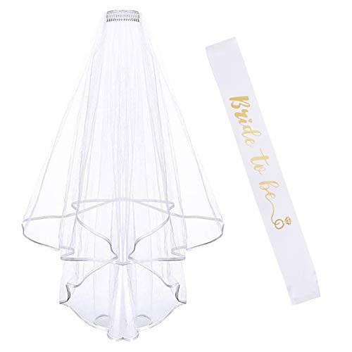 PIKABU Addio al Nubilato Gadget - 2Pcs Nuziale Kit Bride to Be Satin Sash Sposa di Essere Fascia Accessori Decorazione per Addio al Nubilato Hen Feste Notte Matrimonio (Style 2)