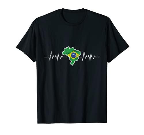 Herzschlag Brasilianische Flagge Geschenk Brasilien T-Shirt
