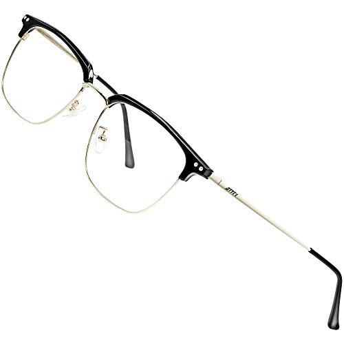ATTCL Blaulichtfilter Brille Herren Damen computerbrille zum Blockieren von Kopfschmerz Rechteckig Gaming brille BL8001 Black+Sliver