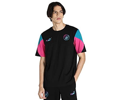 Puma Manchester City Temporada 2021/22, Equipación de Juego, Camiseta, Hombre, Black-Ocean Depths, L