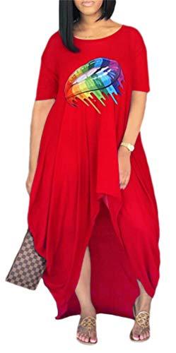 Women Lip Print Loose Fit Long Maxi Dress High Low Asymmetrical Swing T Shirt Dresses