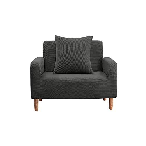 Trimming Shop Fundas elásticas de terciopelo aplastado para sillón, fundas elásticas para sofá, protectores universales para sala de estar, fundas gruesas antideslizantes,lavables,gris oscuro,1 plaza