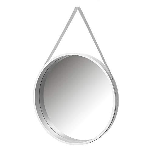 Espejo Colgante Blanco de Madera MDF nórdico, de ø 50 cm - LOLAhome