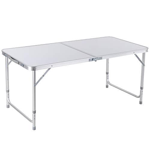 Homfa Campingtisch Klapptisch Gartentisch Falttisch aus Aluminium faltbar höhenverstellbar weiß 120x60x55/60/70cm
