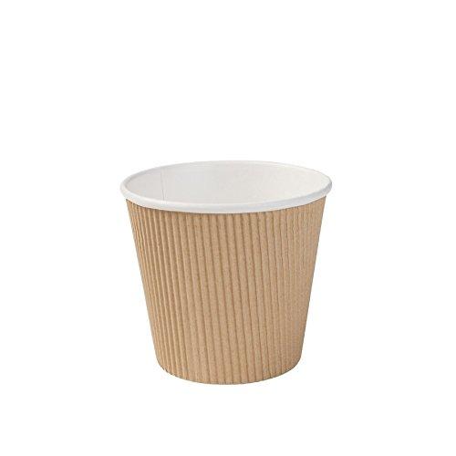 BIOZOYG Einweg Bio Suppen-Becher to Go Suppen Einweggeschirr I Riffelbecher Suppen Kraft-Karton-Becher mit PLA Innenbeschichtung weiß/braun, ungebleicht I 25 Einweg-Becher kompostierbar 500 ml