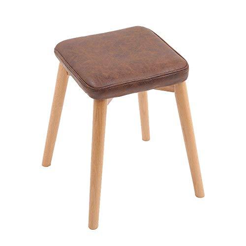 Stapelbarer Esszimmerstuhl aus Holz Wohnzimmer Schminktisch Make-up Sitz Stuhl Hocker Gepolstertes weiches Kissen mit abnehmbarem Leinenbezug Braun