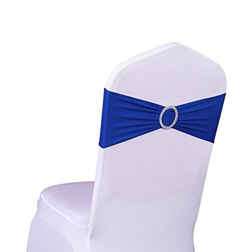 Fascia coprisedia, con fibbia, elastica, decorazione per matrimonio, fascia con fiocco, in tessuto lycra, Royal Blue, 50pc