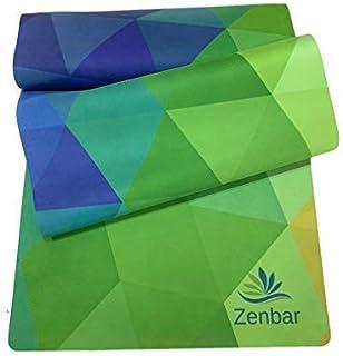 Zenbar Premium Suede Geometric Design Fitness Yoga Mat Non Slip Microfiber with Carry Strap.