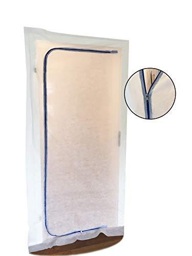 Staubschutztür (Vlies) inkl Reißverschluss, Staubschutz, Bautür, 1,10 x 2,20 m u.a. für Renovierungen & Umbauten, aus staubdichtem Polypropylen-Vlies (PP) (Set 1: 1er Set ohne Klebeband)