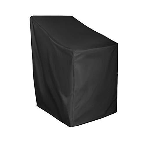 IJNBHU Fundas Sillas de Comedor Fundas para sillas Apiladas Jardín Impermeable Exterior Patio Terraza 210D Poliéster Resistencia al desgarro - Negro20x66x73x84cm