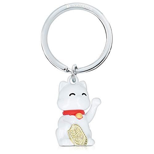 Navaris Llavero de metal del gato de la suerte - Llaveros de metal para llaves de casa y coche - Colgante gato chino saludando