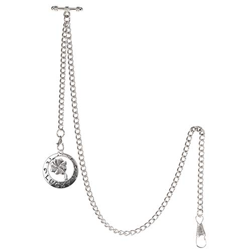 TREEWETO Albert - Reloj de bolsillo con cadena para hombre, 2 ganchos, diseño de trébol de cuatro hojas, color plateado