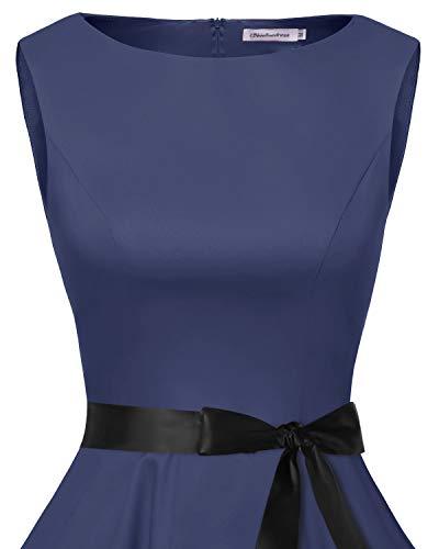 bbonlinedress 50s Retro Schwingen Vintage Rockabilly Kleid Faltenrock Navy - 4