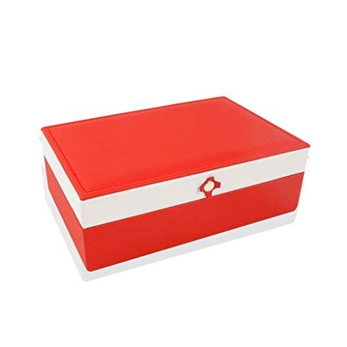 Caja de joyería 170 * 110 * 60mm Caja de Almacenamiento de joyería de una Sola Capa Caja de Anillo Simple (Color: Negro) leilims (Color : Red)
