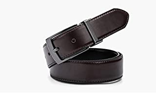 YOUNKING Genuine Leather Double-sided Reversible Belt Luxury Fashion Rotated Buckle 3.4cm Wide Business Belt Customized For Young Elite Crowd,Blue,100cm