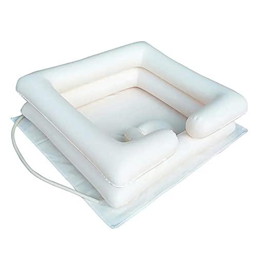 Cama inflable para lavar el pelo, cuenca portátil, bandeja de champú para ancianos, discapacitados, embarazadas, lesionadas, en cama (blanco)
