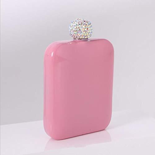 YGLONG Petacas De Alcohol pequeño portátil de la Cadera Frasco 304 de Acero Inoxidable Jarra Cubierta de Diamantes Llena Mini señoras de la Botella de Vino Petaca Acero Inoxidable (Color : 02 Pink)