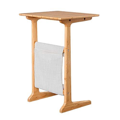 Hyxqyctg Bijzettafel van bamboe, met aparte opbergtas, salontafel, bijzettafel, laptop, tafel, sofa, tafel, nachtkastje, veiligheid afgeronde hoeken, design eenvoudige installatie, A+