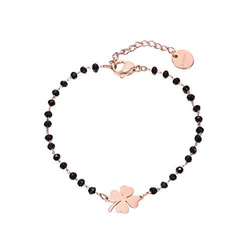 JinHan Pulsera de trébol de cuatro hojas para mujeres y niñas, cadena ajustable de cuentas negra a amigos regalo de cumpleaños chapado en plata/oro/oro rosa