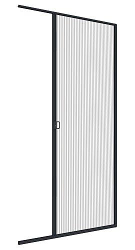 Windhager Insektenschutz Plissee-Tür Expert, Fliegengitter Alurahmen für Türen, individuell Kürzbar, Extra Gross, 120 x 240 cm, anthrazit, 03954
