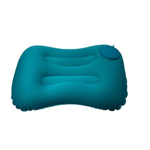 Needenr Almohada de campamento al aire libre – Almohadas de viaje inflables ultraligeras – Senderismo , ligero, ergonómico cuello y soporte lumbar – perfecto para mochileros – (azul pavo real)