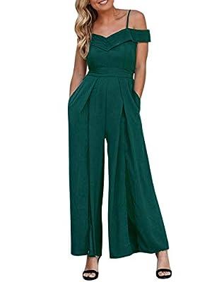 Elegant V Neck Wide Leg Split Jumpsuit with Pocket Long Romper Dark Green-L