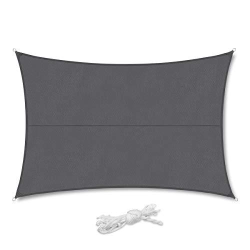 Sekey Sonnensegel Sonnenschutz Rechteckiges Polyester Windschutz Wetterschutz Wasserabweisend Imprägniert 95% UV Schutz, Überlegene Reißfestigkeit für Outdoor mit Seilen, Anthrazit 3×4m