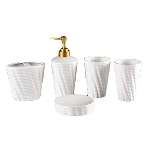Set de accesorios de baño de calidad Conjunto de accesorios de baño de cerámica mate Contiene Loción Botella Botella Enjuague bucal Taza de dientes Soporte de cepillo de dientes Plato Home hotel