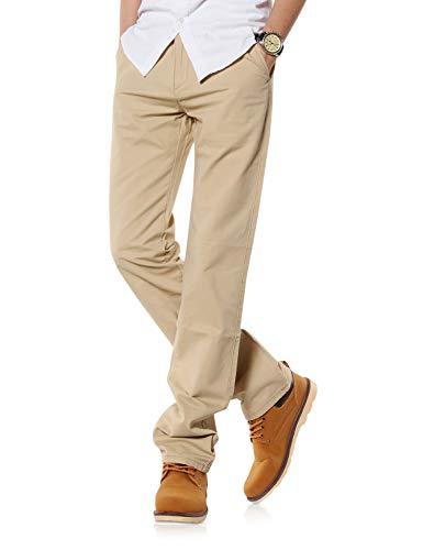 Demon&Hunter 900X Series Men's Classic-Fit Straight Leg Chinos Trousers 9003(33) Light Khaki
