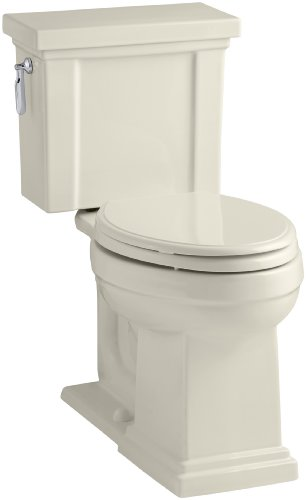 KOHLER K-3950-NY Tresham Comfort Height Two-Piece Elongated 1.28 GPF Toilet with AquaPiston Flush Technology and Left-Hand Trip Lever, Dune