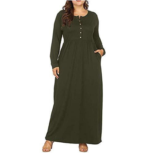 ReooLy Fashion Women Plus Size O-Cuello de Manga Larga Vestido sólido botón Maxi(Ejercito Verde,XXL)