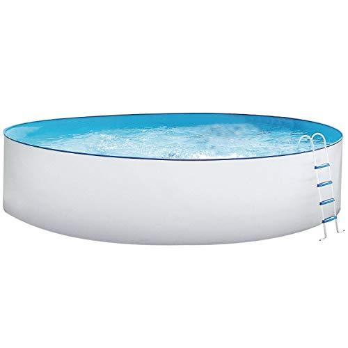 Stahlwandbecken Weiss Pool Schwimmbecken Luxusbecken 4,50 m x 1,20 m inkl. Bodenschienen, Handläufe, Innenfolie + Einbauskimmer + Einlaufdüse + Leiter