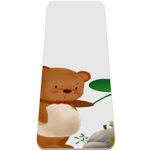 nakw88 Alfombrilla de yoga antideslizante con diseño de oso y niña para yoga, pilates y ejercicios de suelo (72 x 24 x 6 mm) para mujeres y niñas