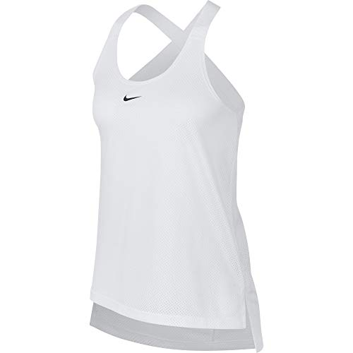 Nike Damen Elastika Mesh Tanktop , weiß (White/Black) , L