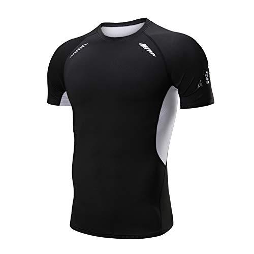 JEPOZRA Camiseta Deporte Hombre Manga Corta Compresión Camisetas Basicas Transpirable para Fitness Running Ciclismo Correr Gym Entrenamiento (Negra-Manga Corta, XXL)