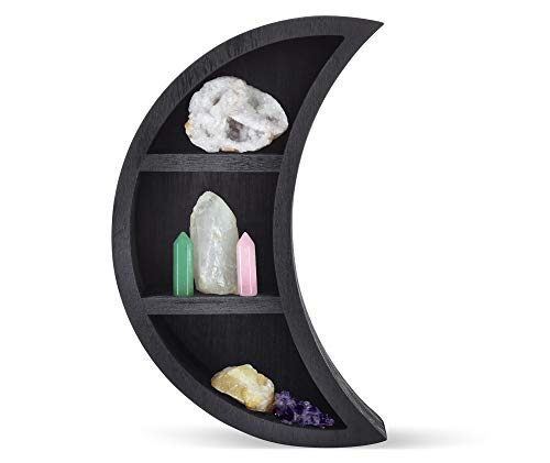 Serch-Merch Reversible Crescent Moon Shelf - Wooden Crystal Shelf Moon Wall Decor - Moon Room Decor Wooden Essential Oil Shelf - Black Moon Decor - 11 Inches Tall by 7 Inches Wide